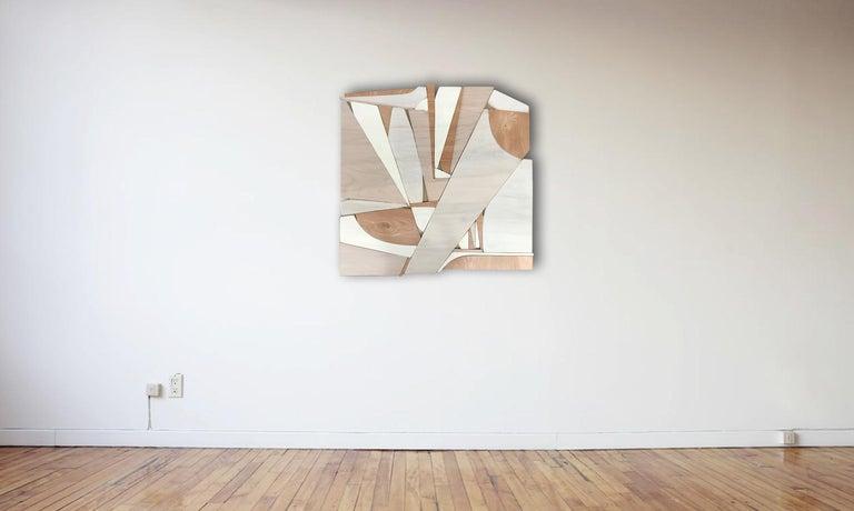Parralax III (modern abstract wall sculpture minimal geometric design neutrals) - Minimalist Sculpture by Scott Troxel