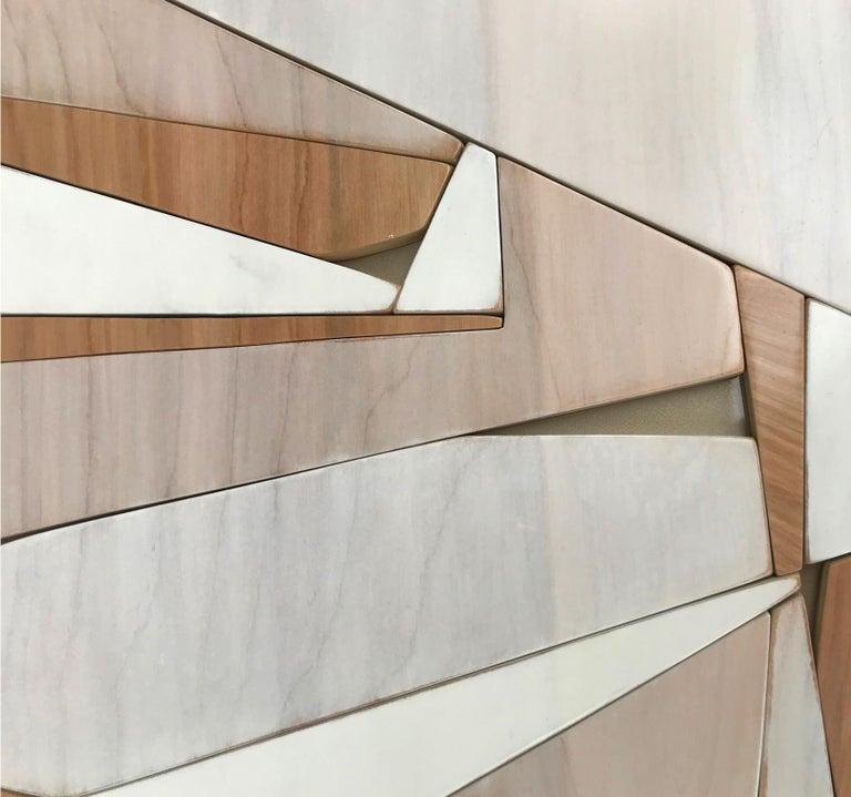 Parralax III (modern abstract wall sculpture minimal geometric design neutrals) - Brown Abstract Sculpture by Scott Troxel