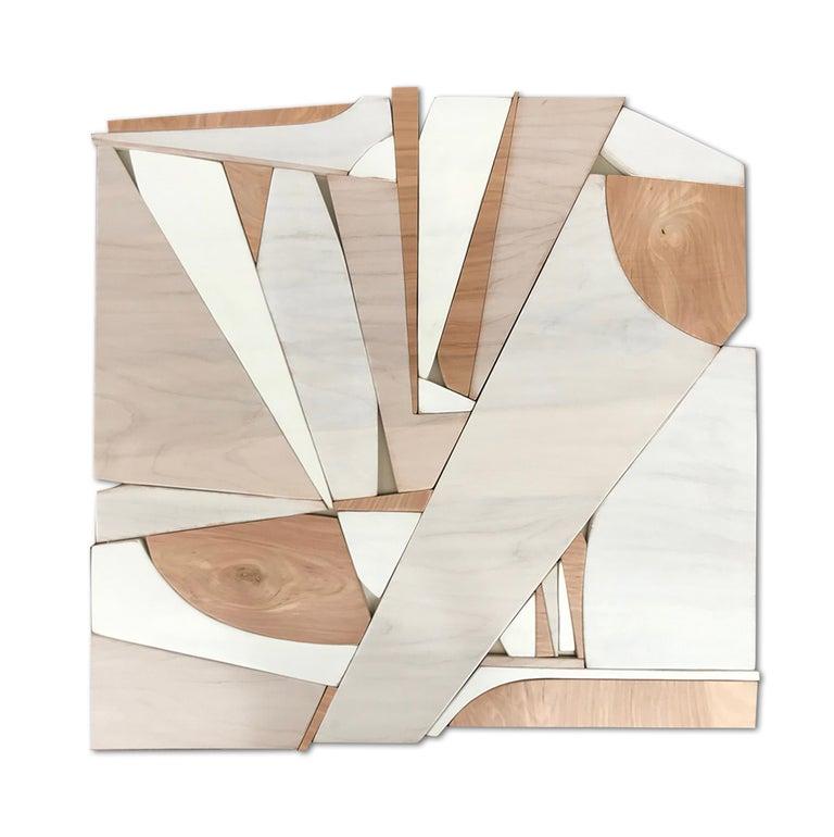 Scott Troxel Abstract Sculpture - Parralax III (modern abstract wall sculpture minimal geometric design neutrals)