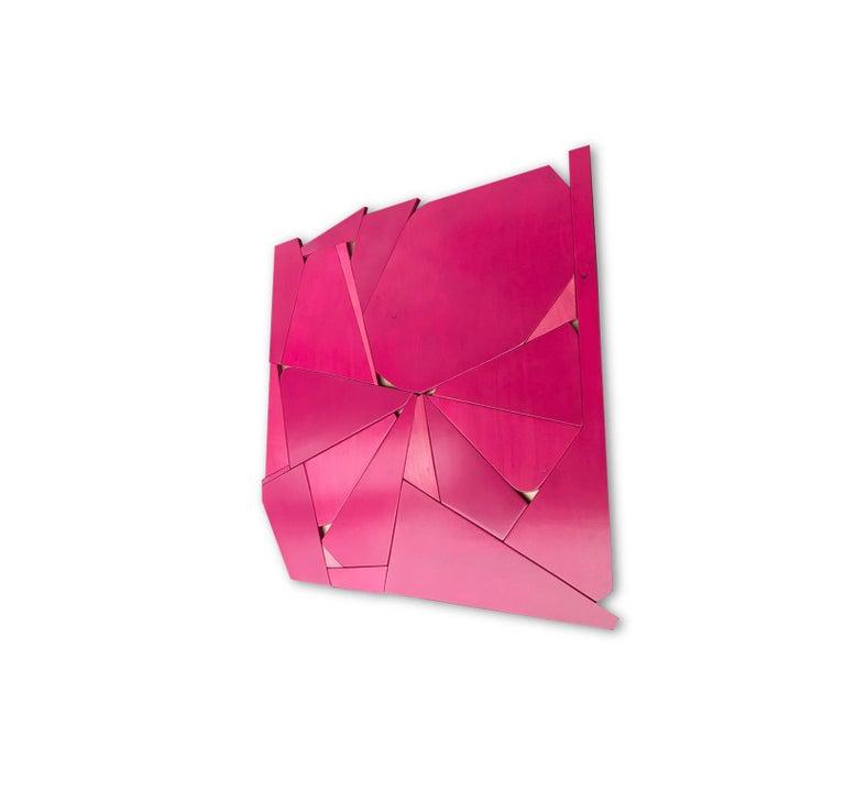 Pinwheel (modern abstract wall sculpture minimal geometric design fushia pink) - Brown Abstract Sculpture by Scott Troxel