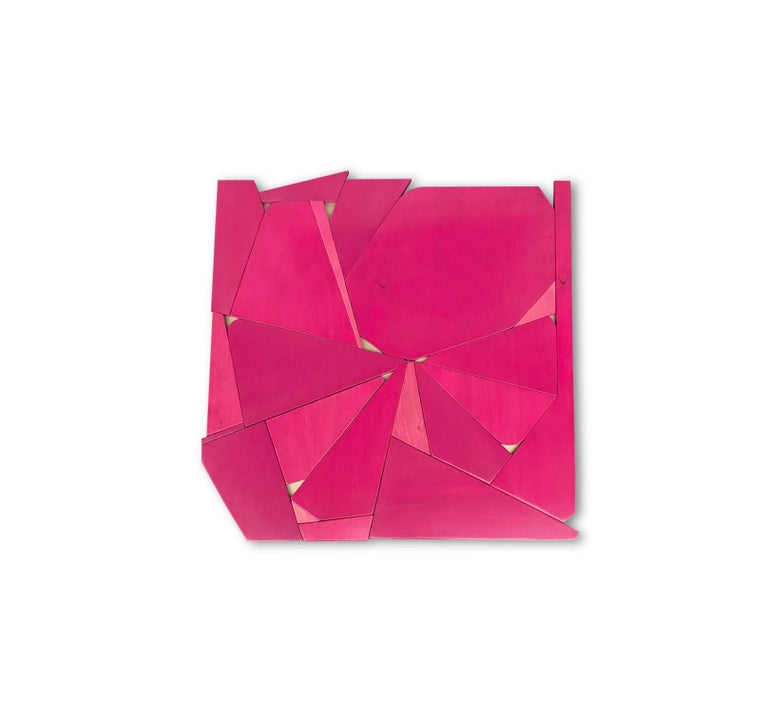 Pinwheel (modern abstract wall sculpture minimal geometric design fushia pink) - Sculpture by Scott Troxel