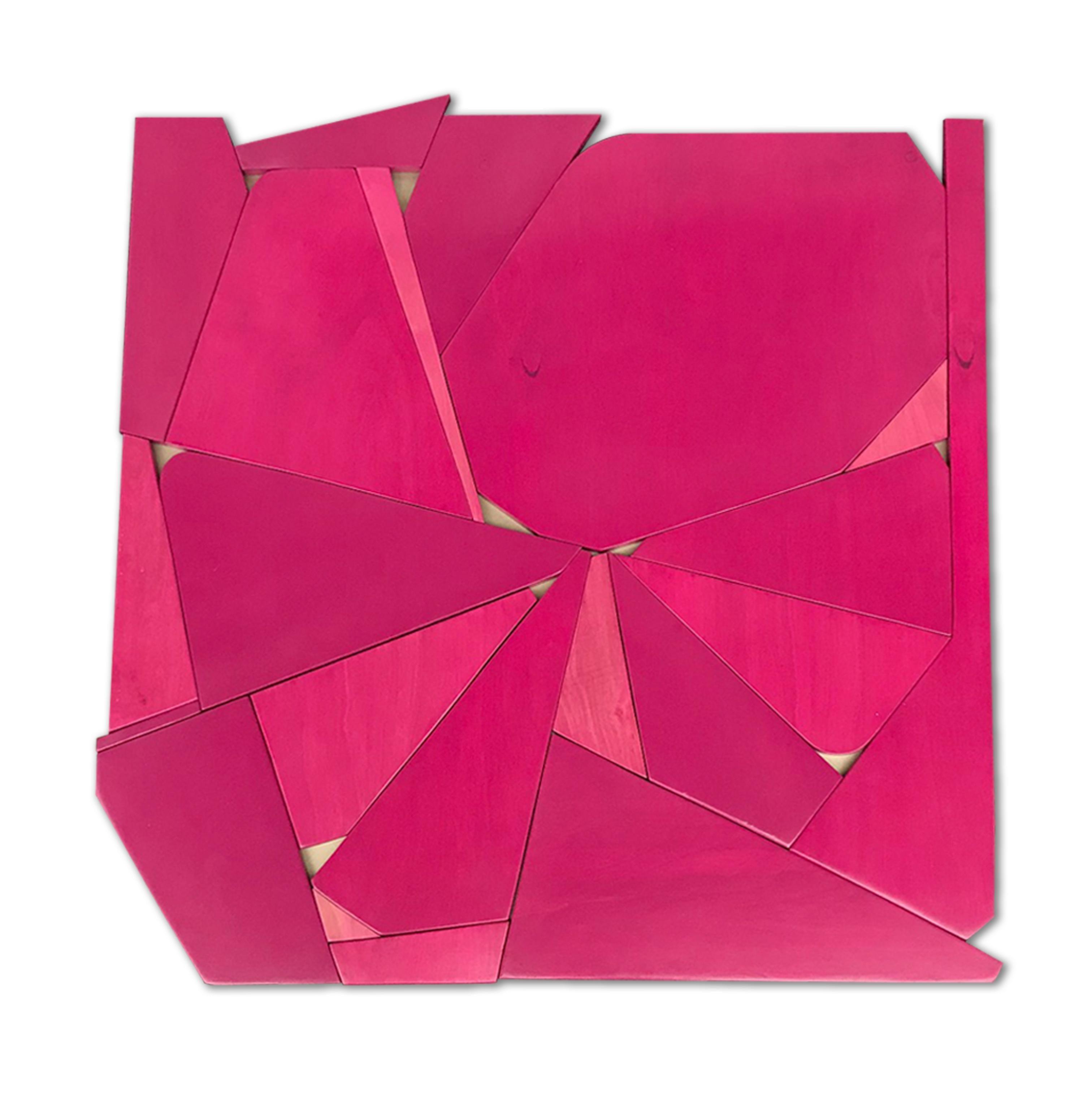 Pinwheel (mangenta modern abstract wall sculpture minimal geometric design pink)