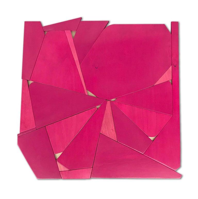 Scott Troxel Abstract Sculpture - Pinwheel (modern abstract wall sculpture minimal geometric design fushia pink)