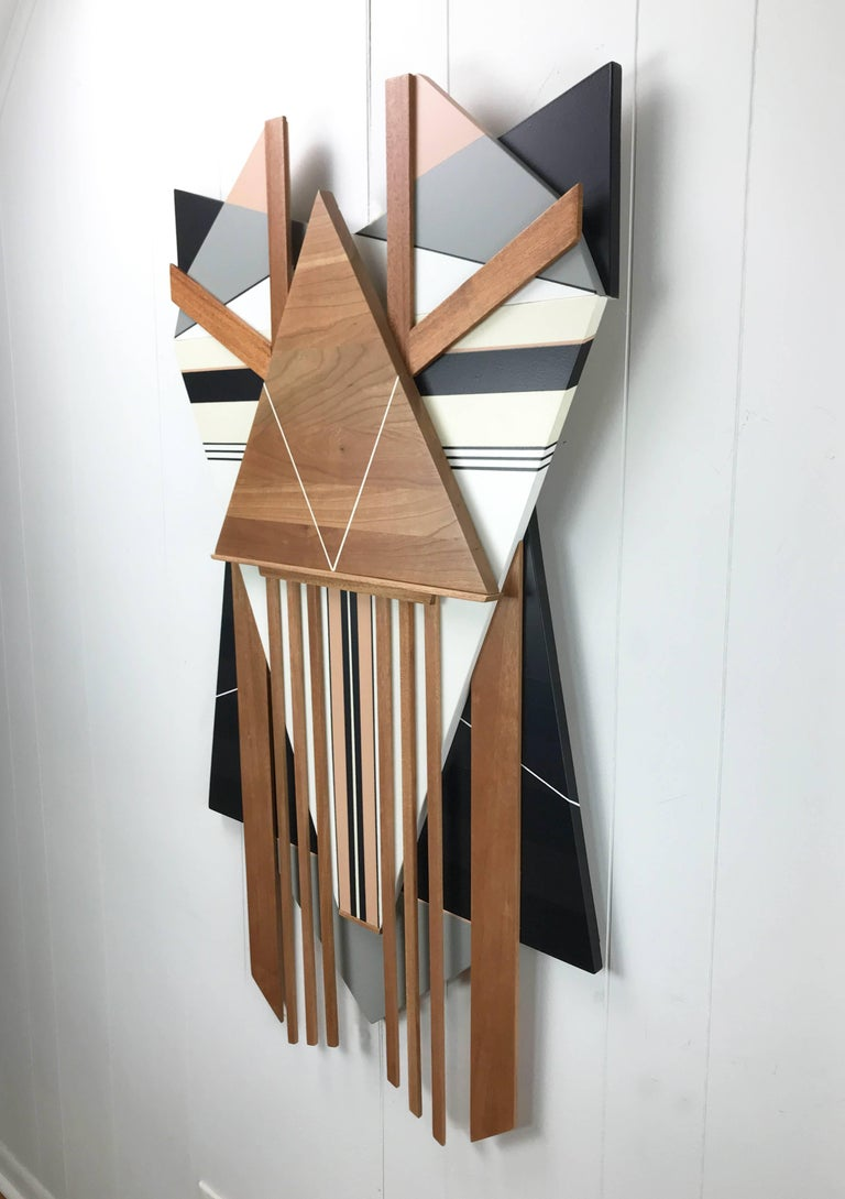 Ronin (modern abstract wall sculpture minimal geometric design neutrals wood art - Painting by Scott Troxel