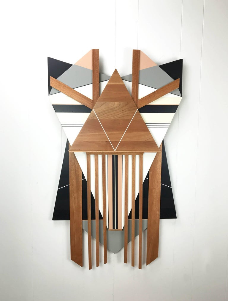 Ronin (modern abstract wall sculpture minimal geometric design neutrals wood art - Brown Abstract Painting by Scott Troxel