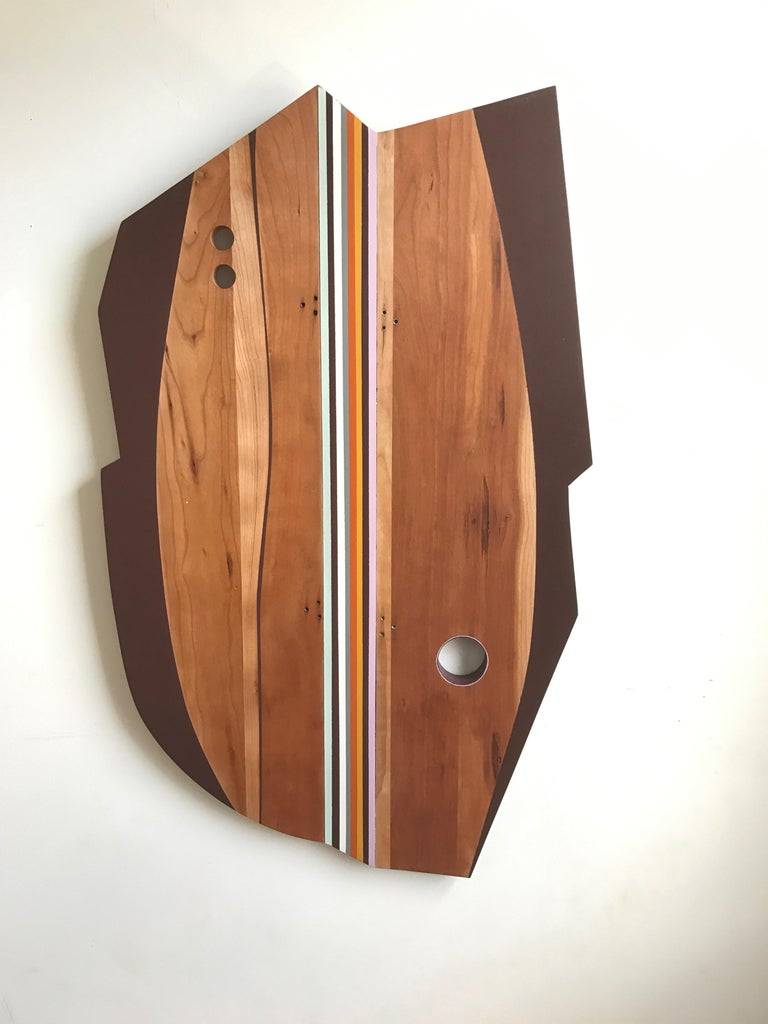Sea Harp (modern abstract wall sculpture minimal design neutrals natural wood) - Mixed Media Art by Scott Troxel