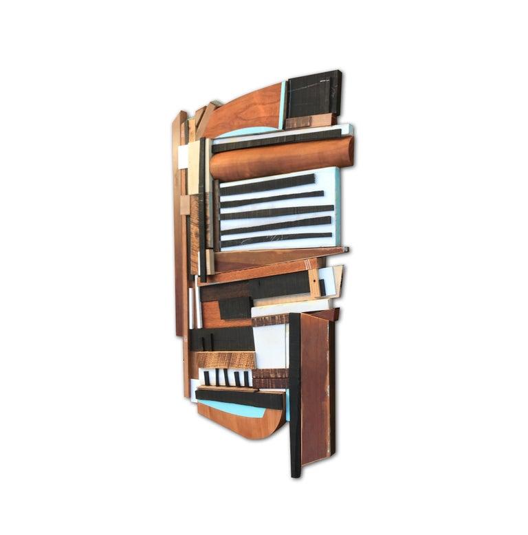 Sled (modern abstract wall sculpture geometric design neutrals wood assemblage) - Modern Mixed Media Art by Scott Troxel
