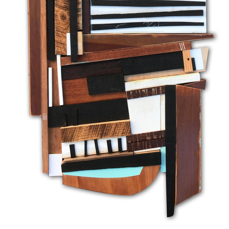 Sled (modern abstract wall sculpture geometric design neutrals wood assemblage) For Sale 1