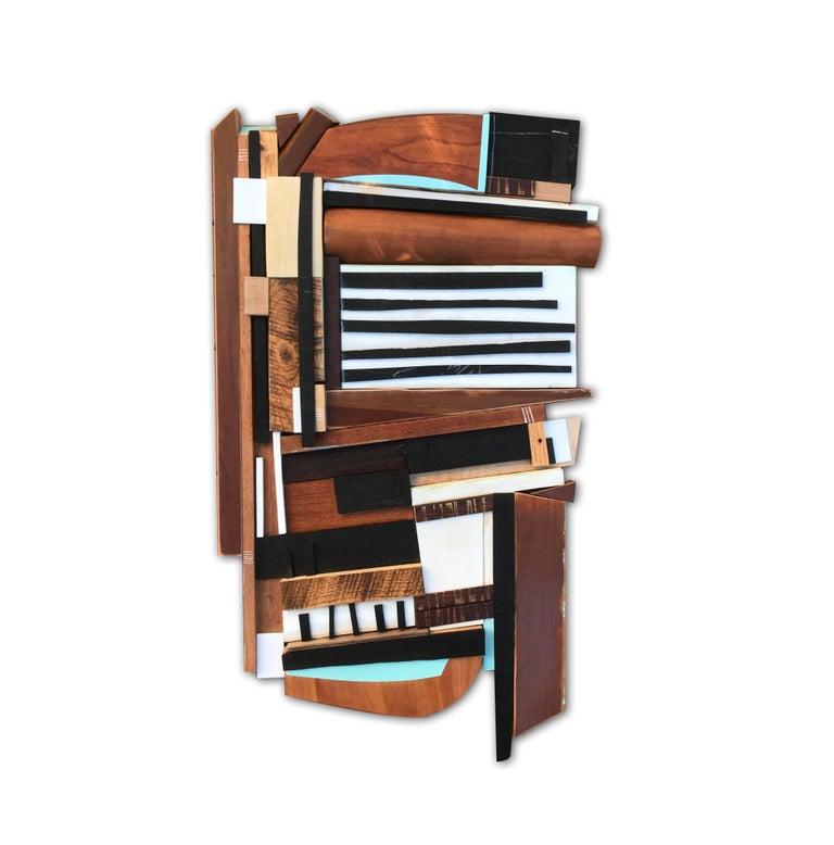 Sled (modern abstract wall sculpture geometric design neutrals wood assemblage) - Mixed Media Art by Scott Troxel