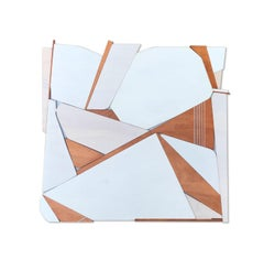 Sparrow (white modern wood wall sculpture, off-white, abstract geometric art)