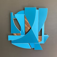 Spinnaker (art deco ceruleen sky blue modern wall sculpture geometric wyatt khan