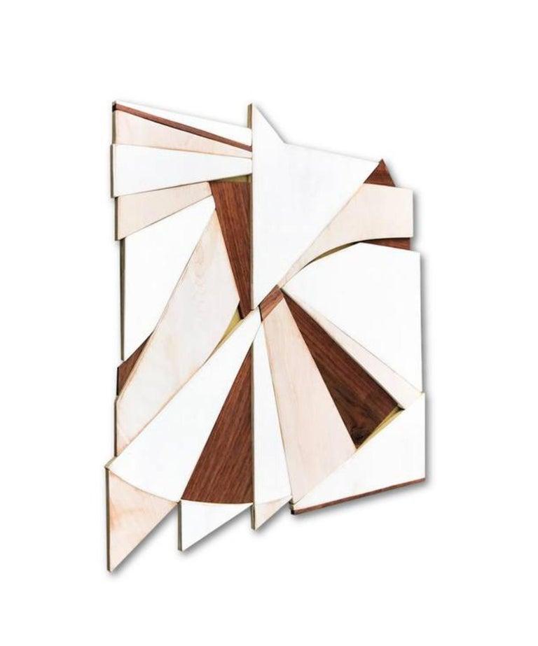 Tarkka (wood Art Deco wall sculpture minimal geometric modern creme vanilla - Painting by Scott Troxel