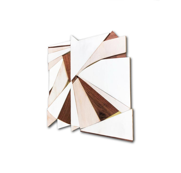 Tarkka (wood Art Deco wall sculpture minimal geometric modern creme vanilla - Brown Abstract Painting by Scott Troxel