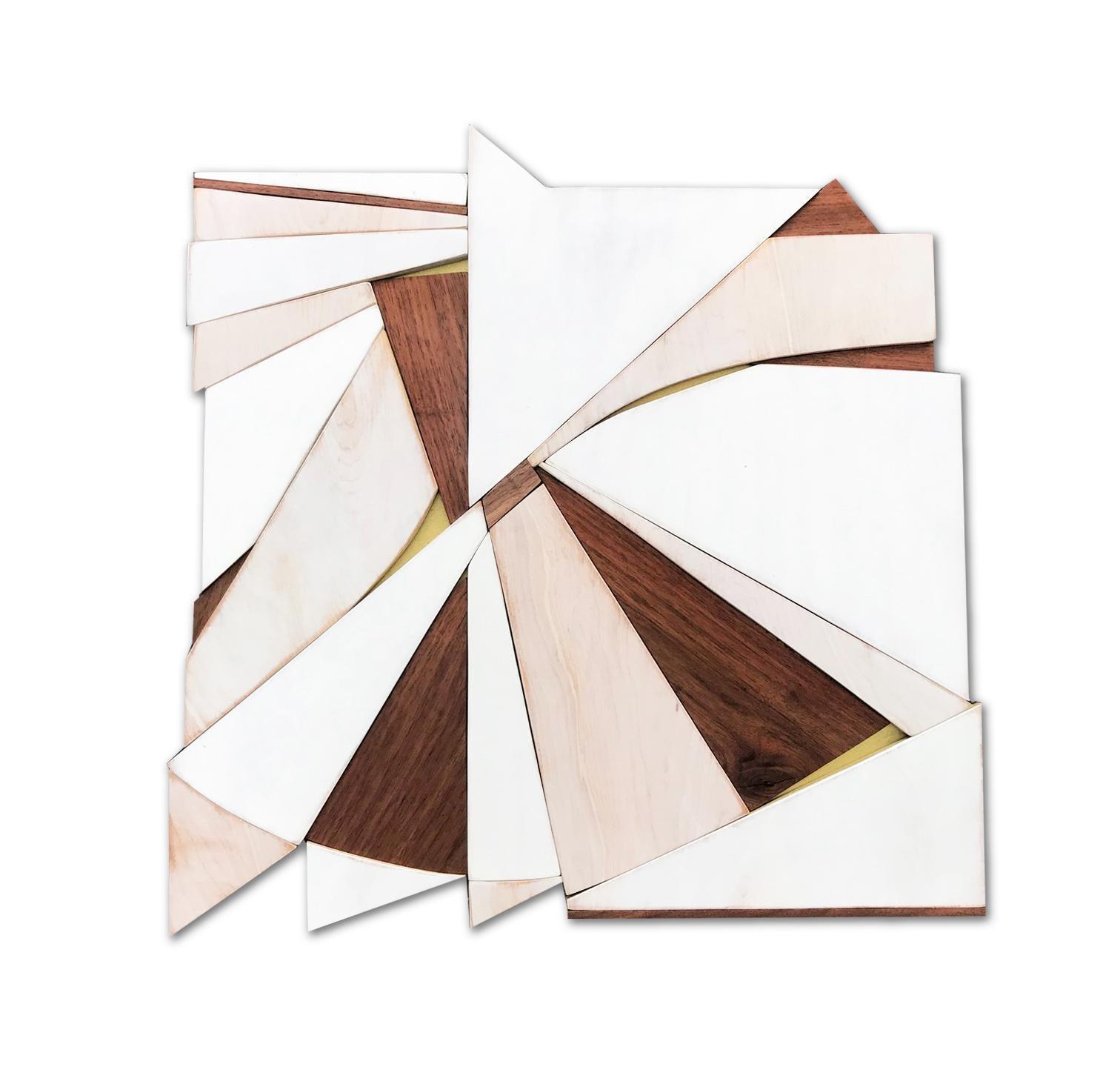 Tarkka (wood Art Deco wall sculpture minimal geometric modern creme vanilla