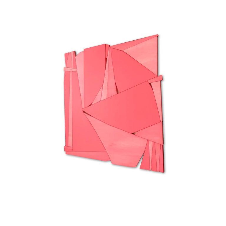Tiki (modern abstract wall sculpture minimal geometric design red coral wood) - Minimalist Painting by Scott Troxel