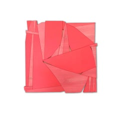 Tiki II (modern abstract wall sculpture minimal geometric design red wood art)