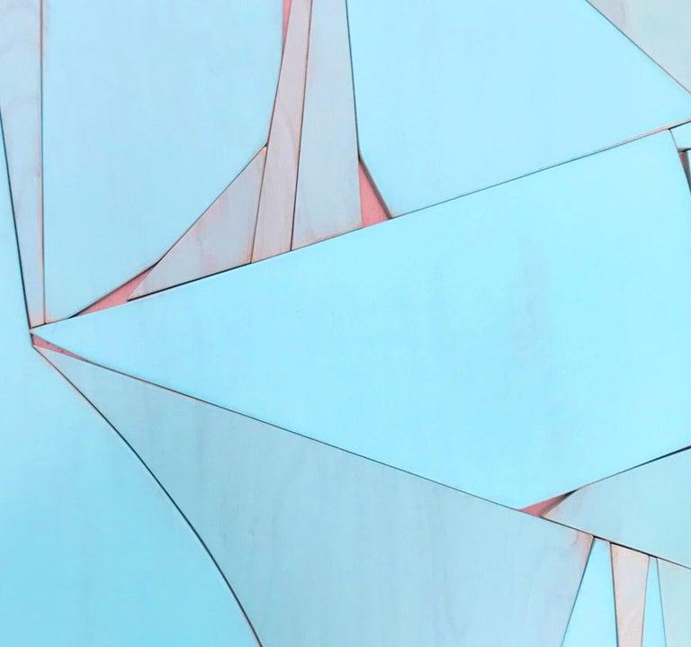Tiki Miami (modern abstract wall sculpture minimal geometric design blue art) - Minimalist Painting by Scott Troxel