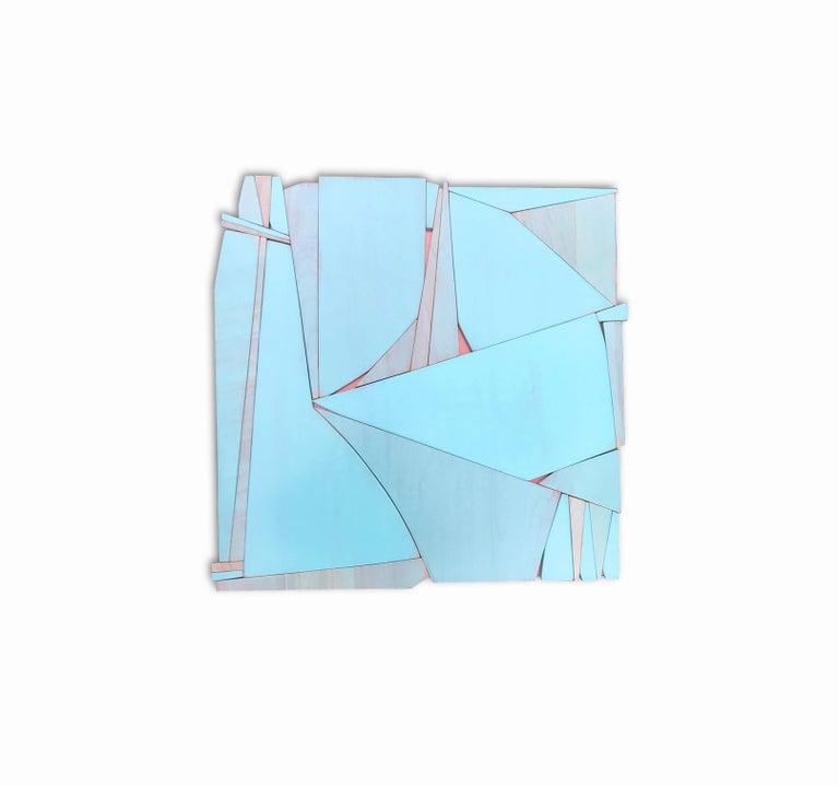 Tiki Miami (modern abstract wall sculpture minimal geometric design blue art) - Painting by Scott Troxel