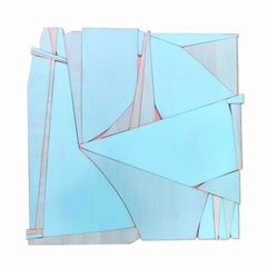 Tiki Miami (modern abstract wall sculpture minimal geometric design blue art)