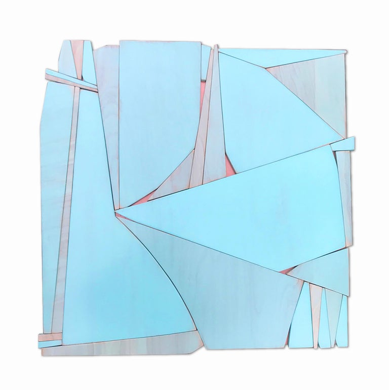 Scott Troxel Abstract Painting - Tiki Miami (modern abstract wall sculpture minimal geometric design blue art)