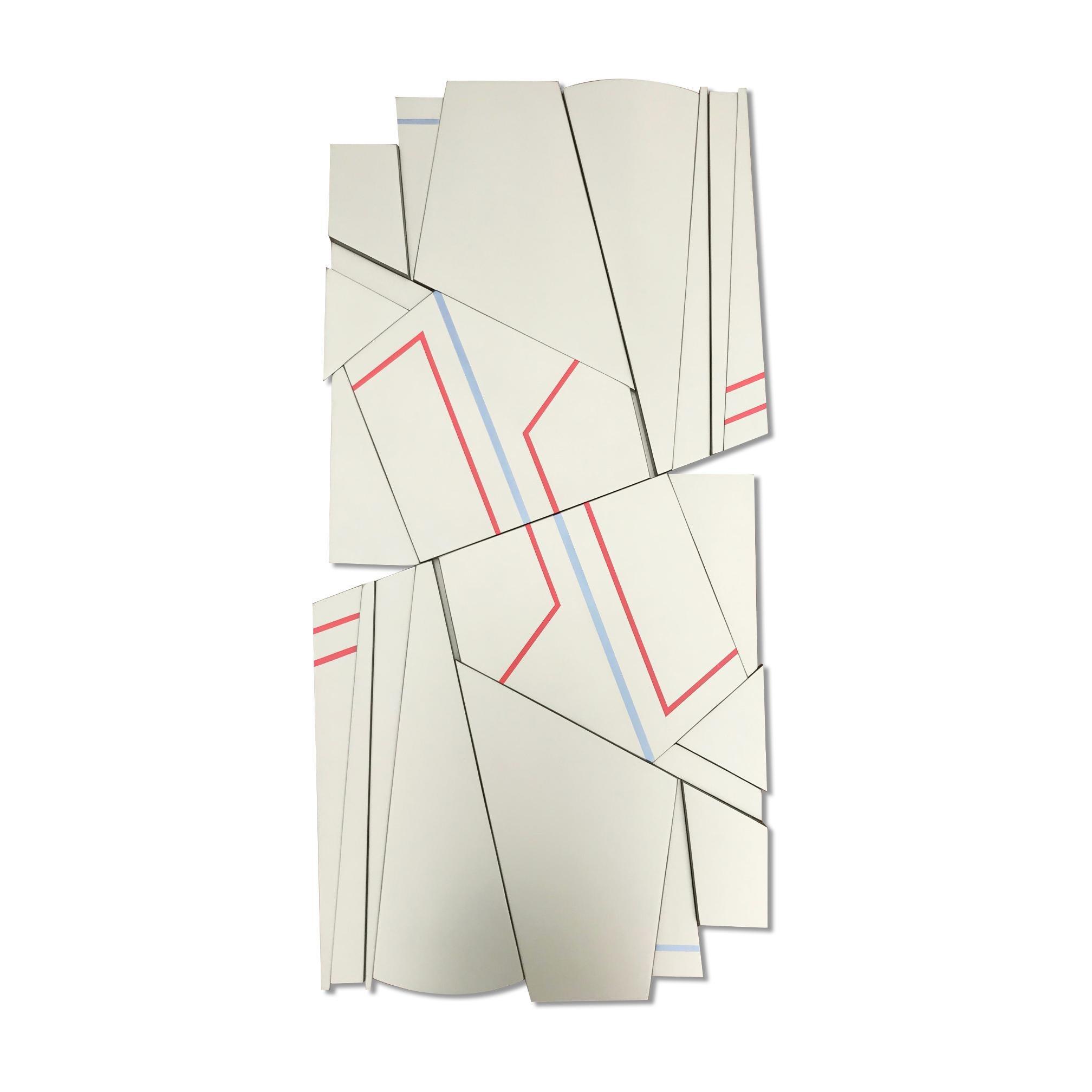Tonka 1 (wood Art Deco wall sculpture minimal geometric modern ivory cream