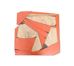 Transponder (orange mid-modern wood wall sculpture, abstract geometric art)
