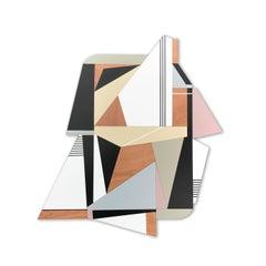 Zelus (wood wall sculpture modern Art Deco design neutrals abstract geometric)