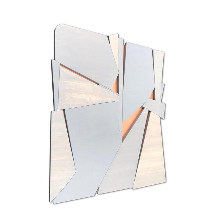 Zephyr (modern abstract wall sculpture minimal geometric design grey wood art) - Minimalist Mixed Media Art by Scott Troxel