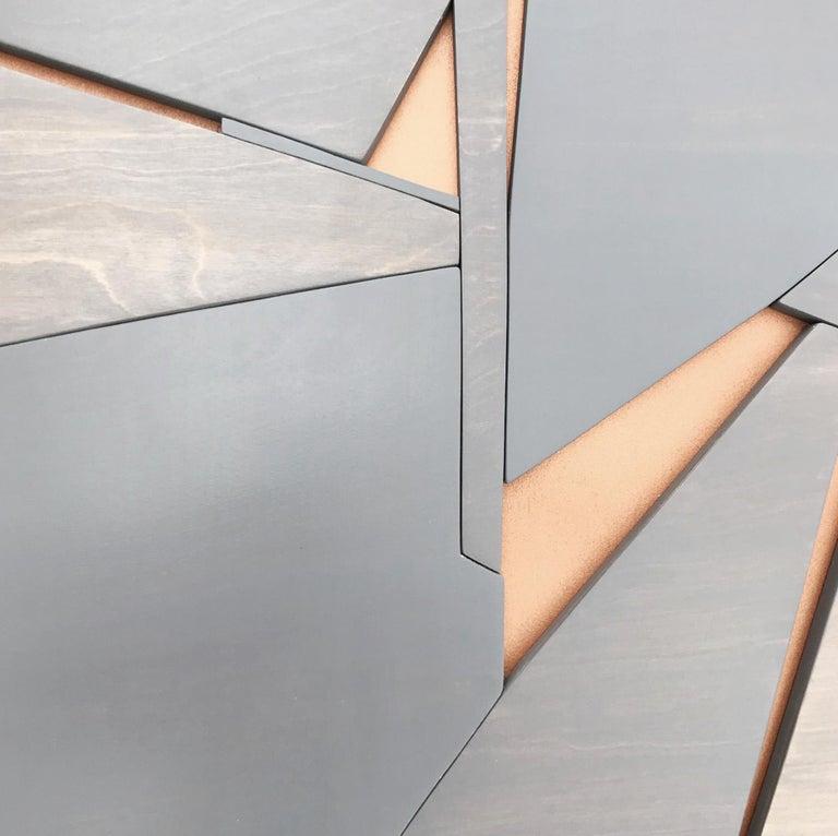 Zephyr (modern abstract wall sculpture minimal geometric design grey wood art) For Sale 1
