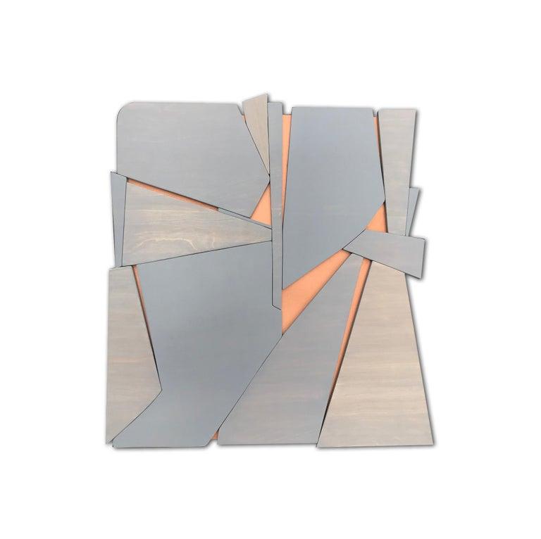 Zephyr (modern abstract wall sculpture minimal geometric design grey wood art) - Mixed Media Art by Scott Troxel