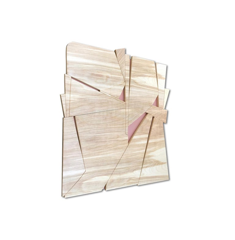 Zephyr II (modern abstract wall sculpture minimal geometric design natural wood) - Painting by Scott Troxel