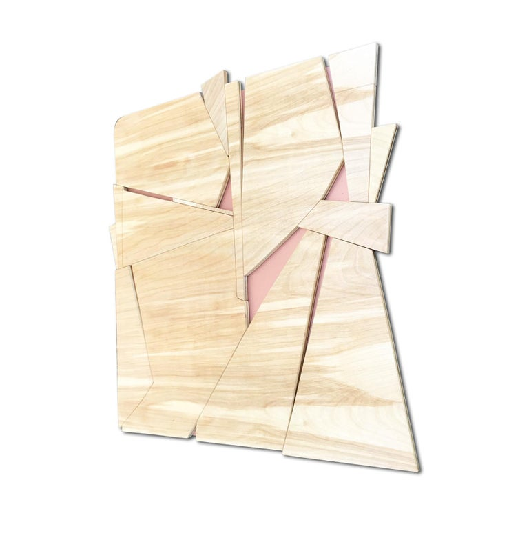 Zephyr II (modern abstract wall sculpture minimal geometric design natural wood) - Minimalist Painting by Scott Troxel