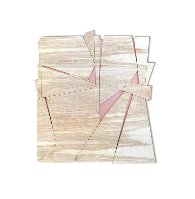 Scott Troxel Abstract Painting - Zephyr II (modern abstract wall sculpture minimal geometric design natural wood)