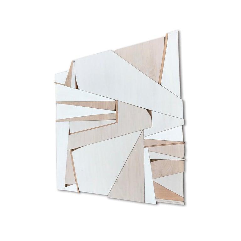 Zigzag II (modern abstract wall sculpture minimal geometric design neutrals wood - Minimalist Sculpture by Scott Troxel