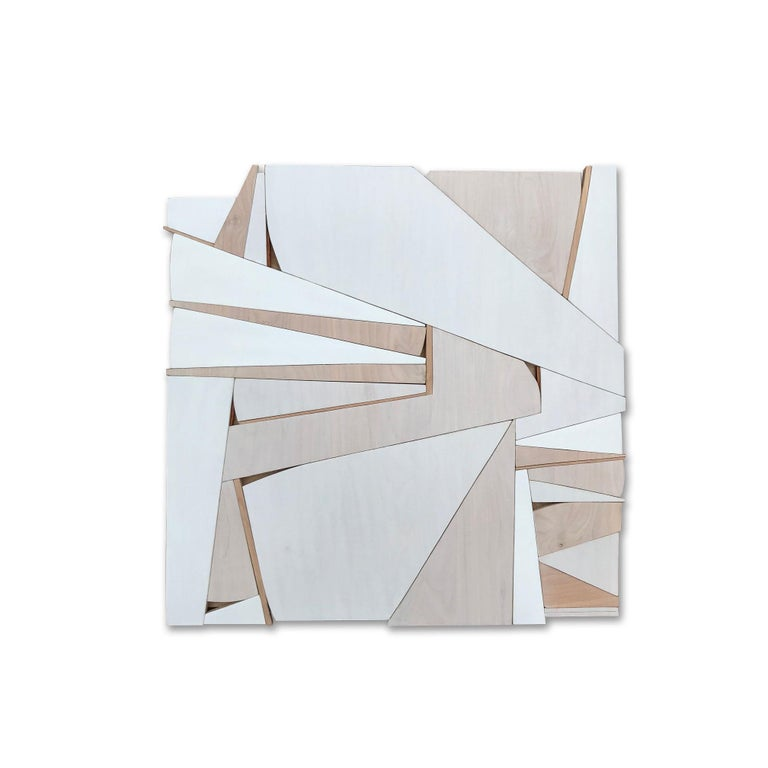 Scott Troxel Abstract Sculpture - Zigzag II (modern abstract wall sculpture minimal geometric design neutrals wood