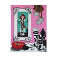 """Big Eyes Still Life"" Pink Toned Contemporary Realist Still Life Painting"