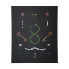 """""""Evanesce"""" Contemporary Abstract Surrealist Painting of Mystical Icons & Symbols"""