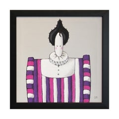 """""""Mme. Violette"""" Pink, Purple, and Grey Abstract Aristocratic Figure Painting"""