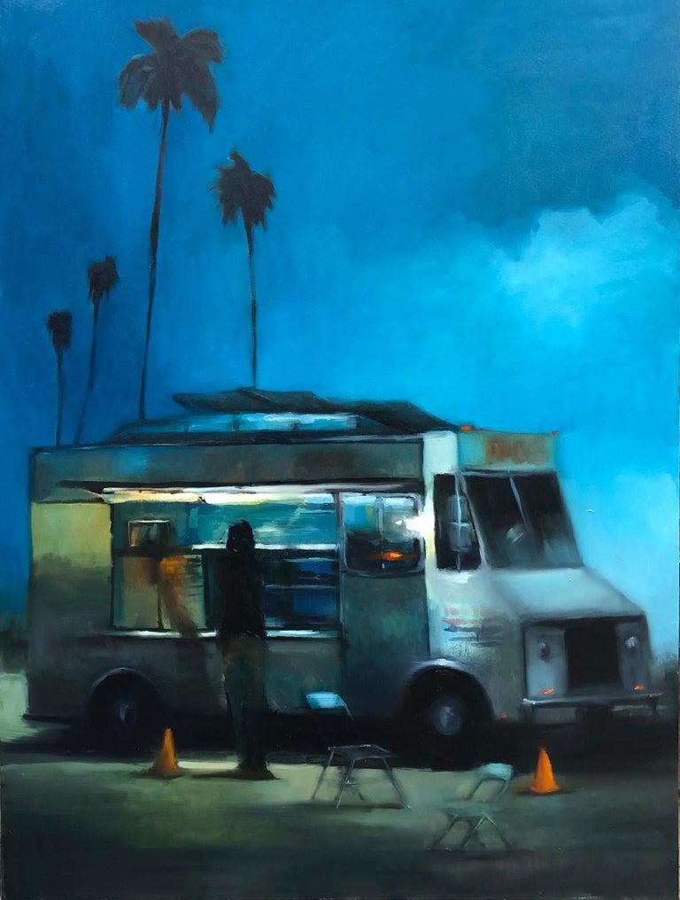 Scott Yeskel Landscape Painting - Taco Truck at Dusk