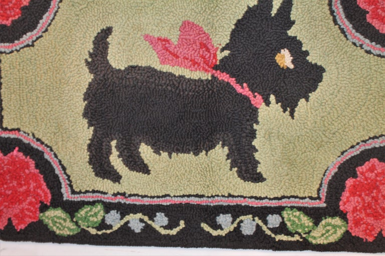 Country Scottie Dog Hooked Rug Mounted on Board For Sale