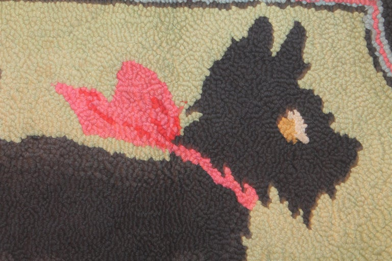 American Scottie Dog Hooked Rug Mounted on Board For Sale