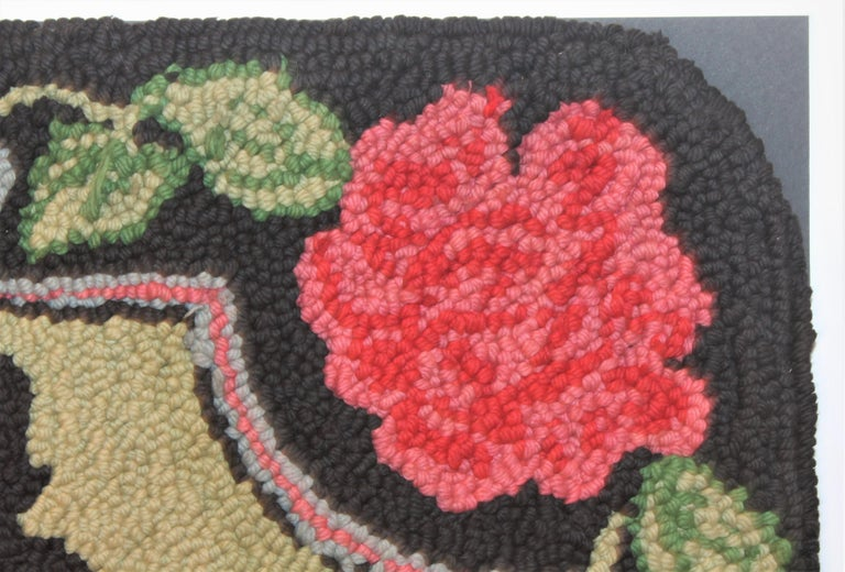 Scottie Dog Hooked Rug Mounted on Board In Good Condition For Sale In Los Angeles, CA