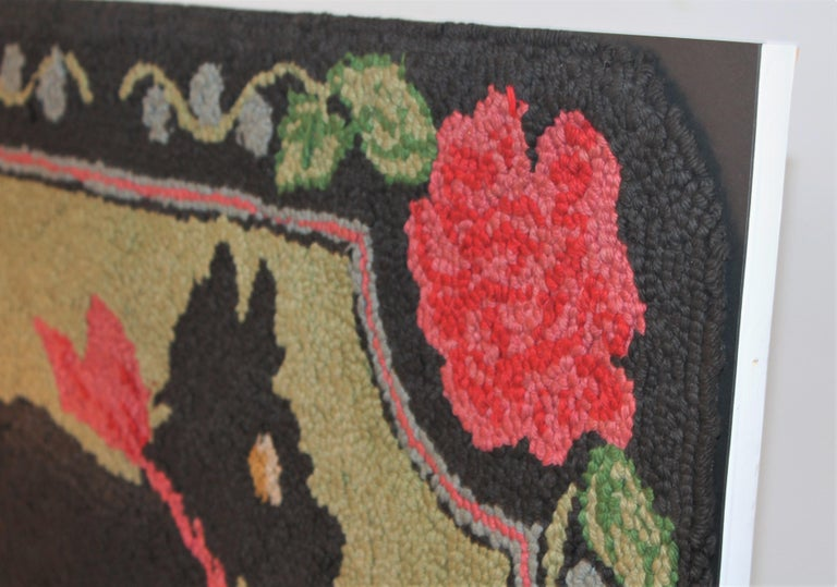 Wool Scottie Dog Hooked Rug Mounted on Board For Sale