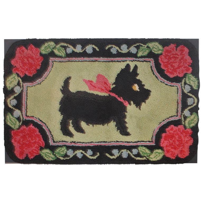 Scottie Dog Hooked Rug Mounted on Board For Sale