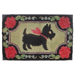 Scottie Dog Hooked Rug Mounted on Board