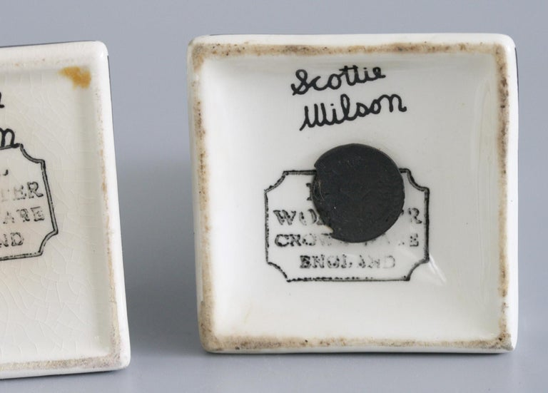 Mid-20th Century Scottie Wilson for Royal Worcester Art Pottery Cruet Set For Sale