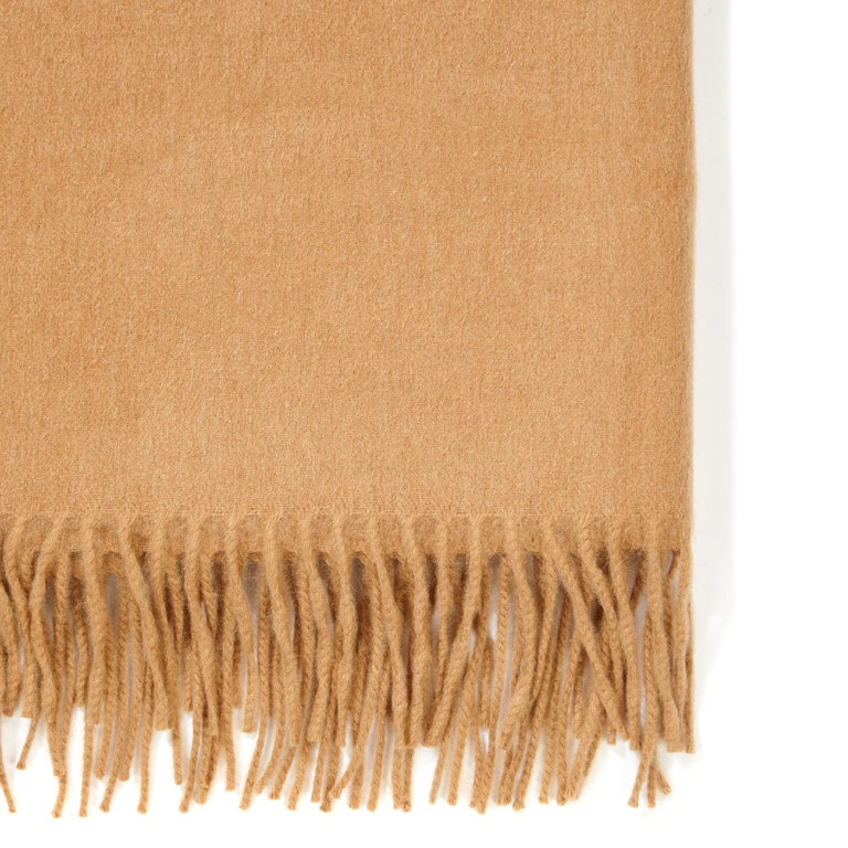 Brown Scottish 100% Cashmere Shawl in Camel Tan  For Sale