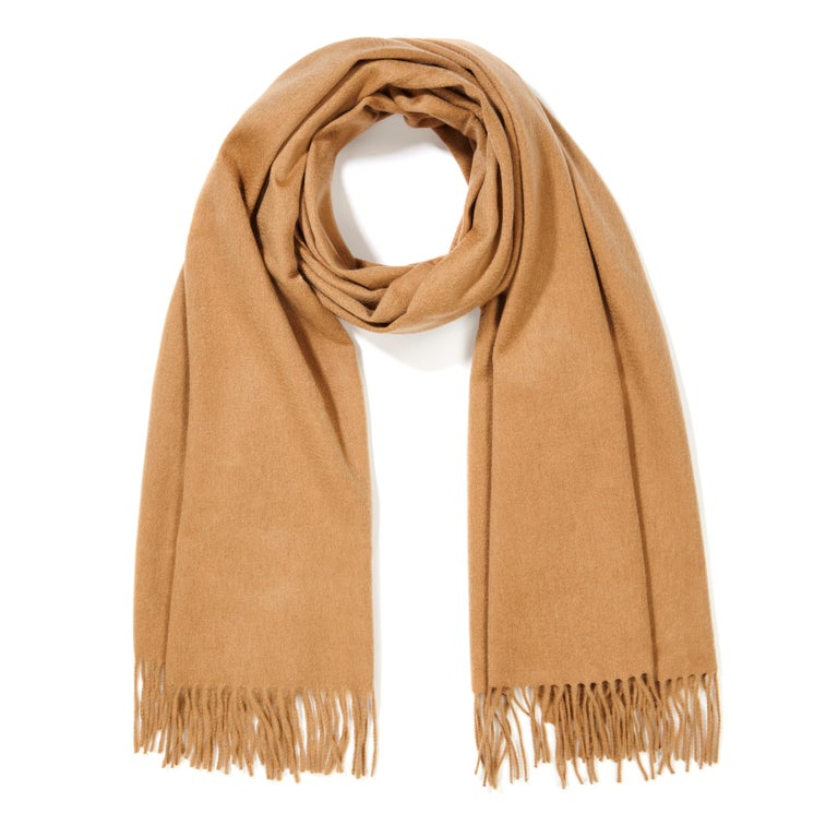 Scottish 100% Cashmere Shawl in Camel Tan  In New Condition For Sale In London, GB