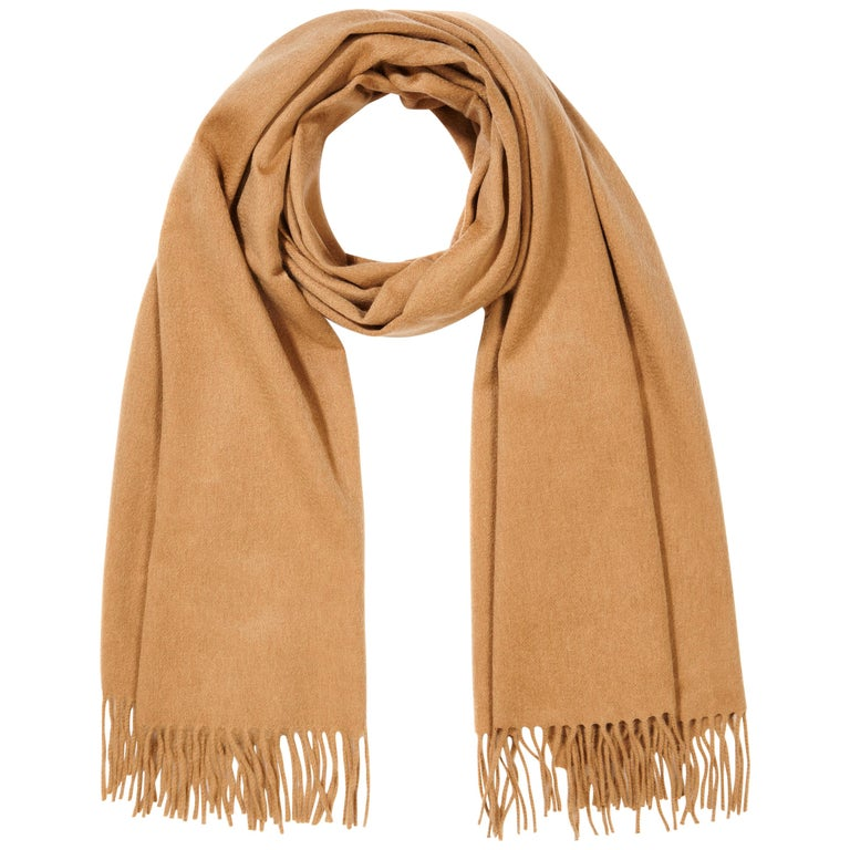 Scottish 100% Cashmere Shawl in Camel Tan  For Sale