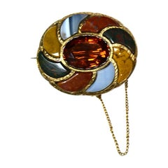 Scottish 1800s Antique Agate & Citrine Set in 15k Gold Brooch